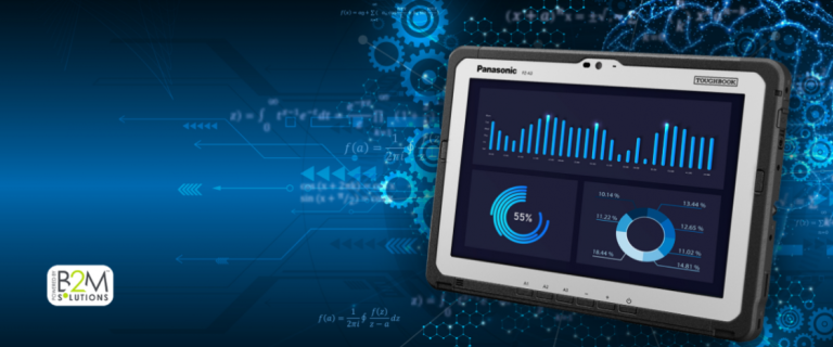 Image of a toughbook with the Smart Essential analytics on the screen